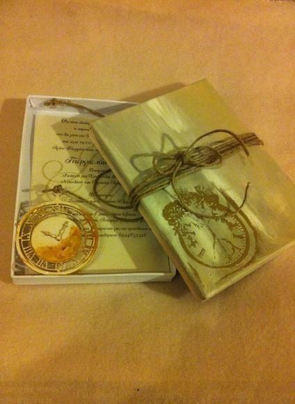Με το ρολόι θέμα σικάτο κουτί πρόσκληση γάμου-βάπτισης σε decoupage