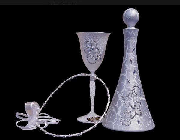 Δίσκος Ποτήρι Καράφα σε λευκό - ασημί χρωματισμό κρακελέ με Σβαρόφσκι