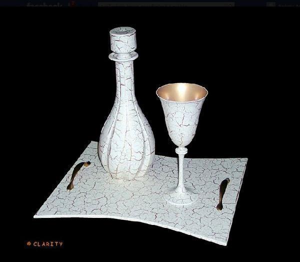 Μπουκάλι-δίσκος-ποτήρι- γάμου σε εκρού-χρυσό χρώμα και κρακελέ