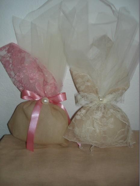 Πουγκί νέα λινάτσα με λέζα μαργαρίτα δαντέλα μπομπονιέρα γάμου