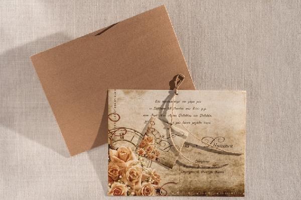 Vintage πρόσκληση γάμου θήκη με τα λουλούδια και το ρολόι της ζωής
