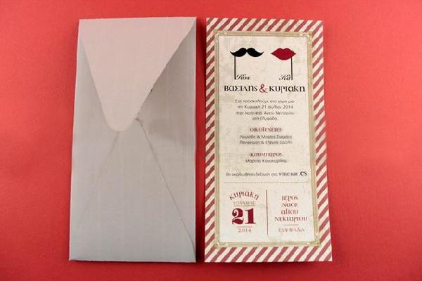 Μοντέρνα πρόσκληση γάμου σε κόμικ σχέδιο με χείλια και μουστάκι
