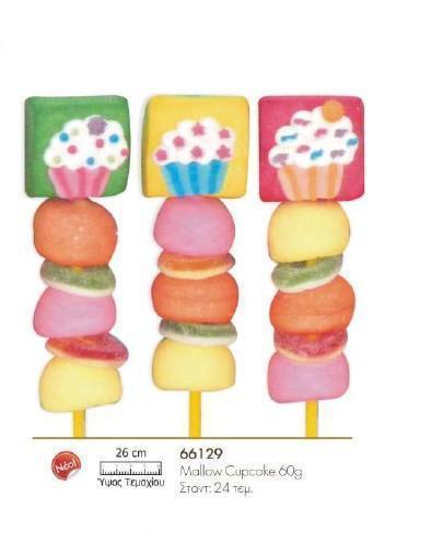 Παιδική μπομπονιέρα βάπτισης σουβλάκι με cup cakes marshmallows