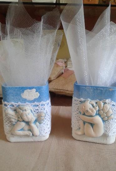 Μολυβοθήκη vintage μπομπονιέρα βάπτισης με αγγελάκια για αγοράκια